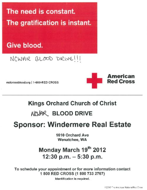 NCWAR Blood Drive 3/19/12